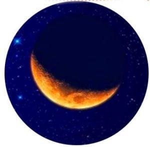 убывающая луна и небо
