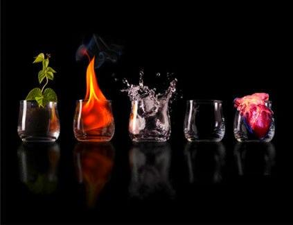 пять элементов в стакане