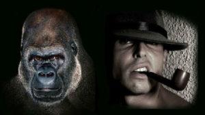 мужчина и обезьяна